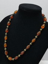 Vintage Amber Colored Beaded Necklace With Black And Gold Accent Spacer ... - $5.99