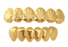 14k GP Mouth Teeth Grillz Set w Mold Kit Player Embossed Marijuana Leaf - $15.88