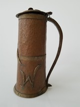 antique ARTS and CRAFTS hammered COPPER brass TANKARD handmade personal ... - $224.95