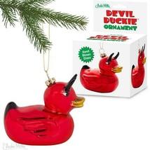 "Devil Duckie Ornament 3.75"" Hand Blown Glass Christmas Tree Red Evil Rub... - $12.95"