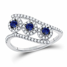14kt White Gold Womens Round Blue Sapphire Fashion 3-stone Ring 5/8 Cttw - £493.90 GBP