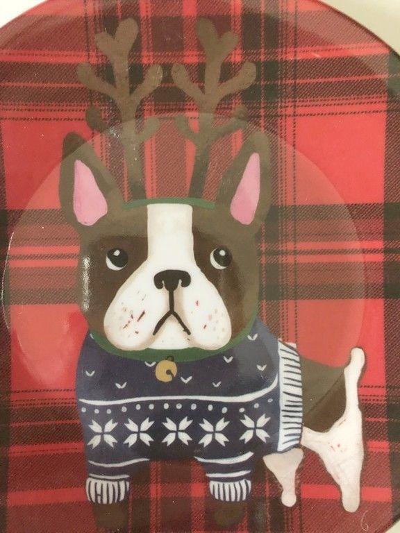 "Boxer Dog Appetizer Tidbit Christmas Paid Melamine Plates 6"" set of 4 Dog Lover"