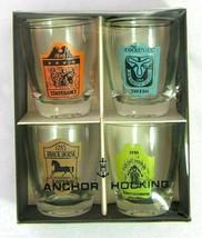 Vintage Set of 4 Anchor Hocking Shot Glasses - Tavern Signs - In Original Box - $14.85