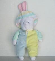 Vtg Eden Bunny Rabbit Pastel Plush Baby Toy Lovey Pastel Terrycloth Stri... - $250.19