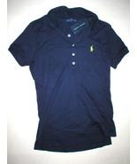 NWT $90 New Womens Ralph Lauren Golf Shirt Top Polo M Light Blue Dark Ca... - $39.20