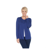 Denim & CO Essentials Heavenly Jersey Cardigan Pockets Bright Navy, L ,A... - $24.73