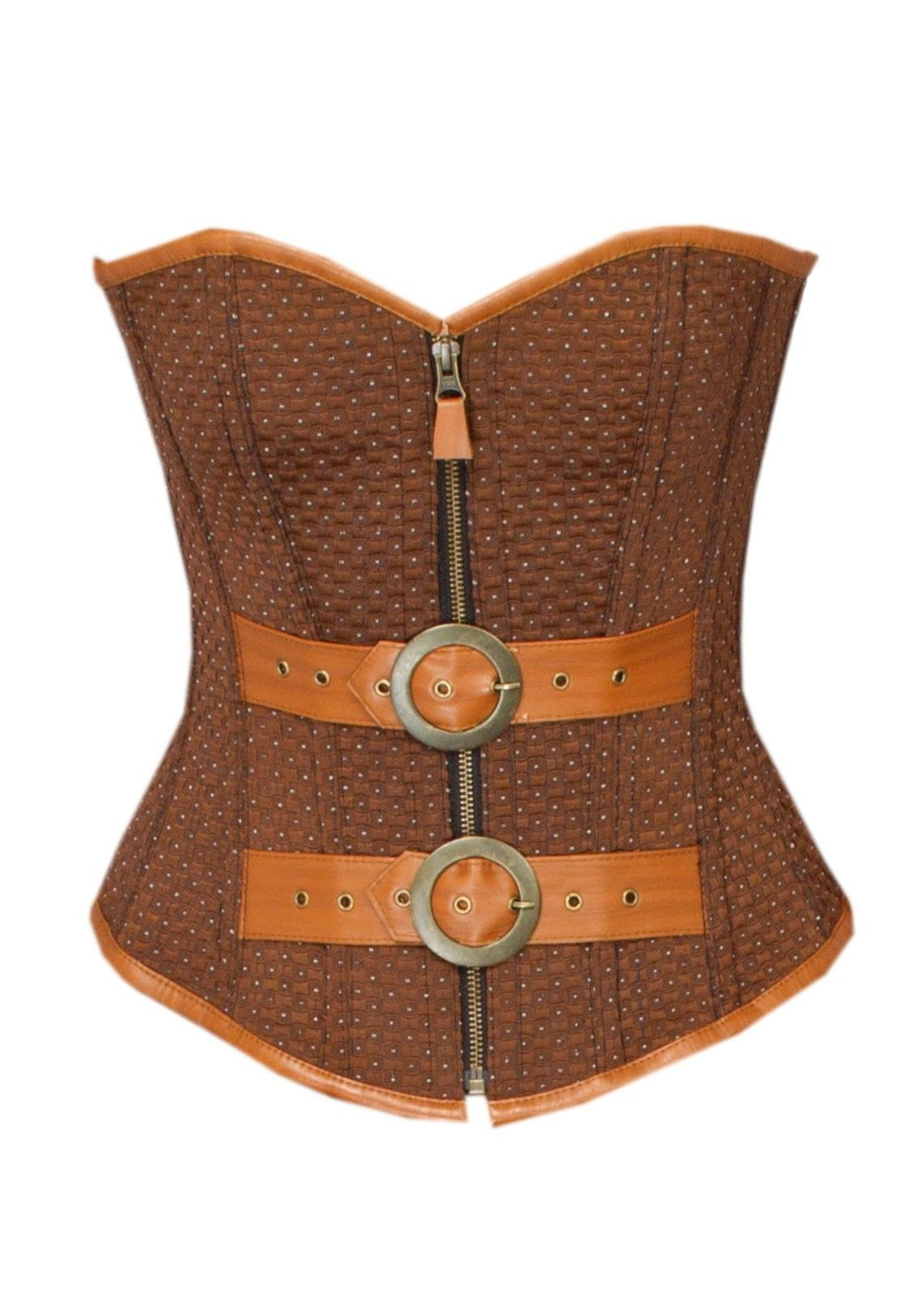 Brown Cotton Brocade Leather Belts Halloween Costume Bustier Overbust Corset Top
