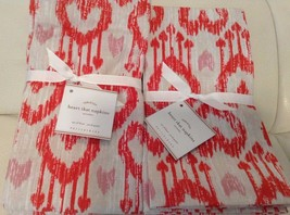 Pottery Barn Heart Ikat Napkins Set of Eight (8... - $38.65