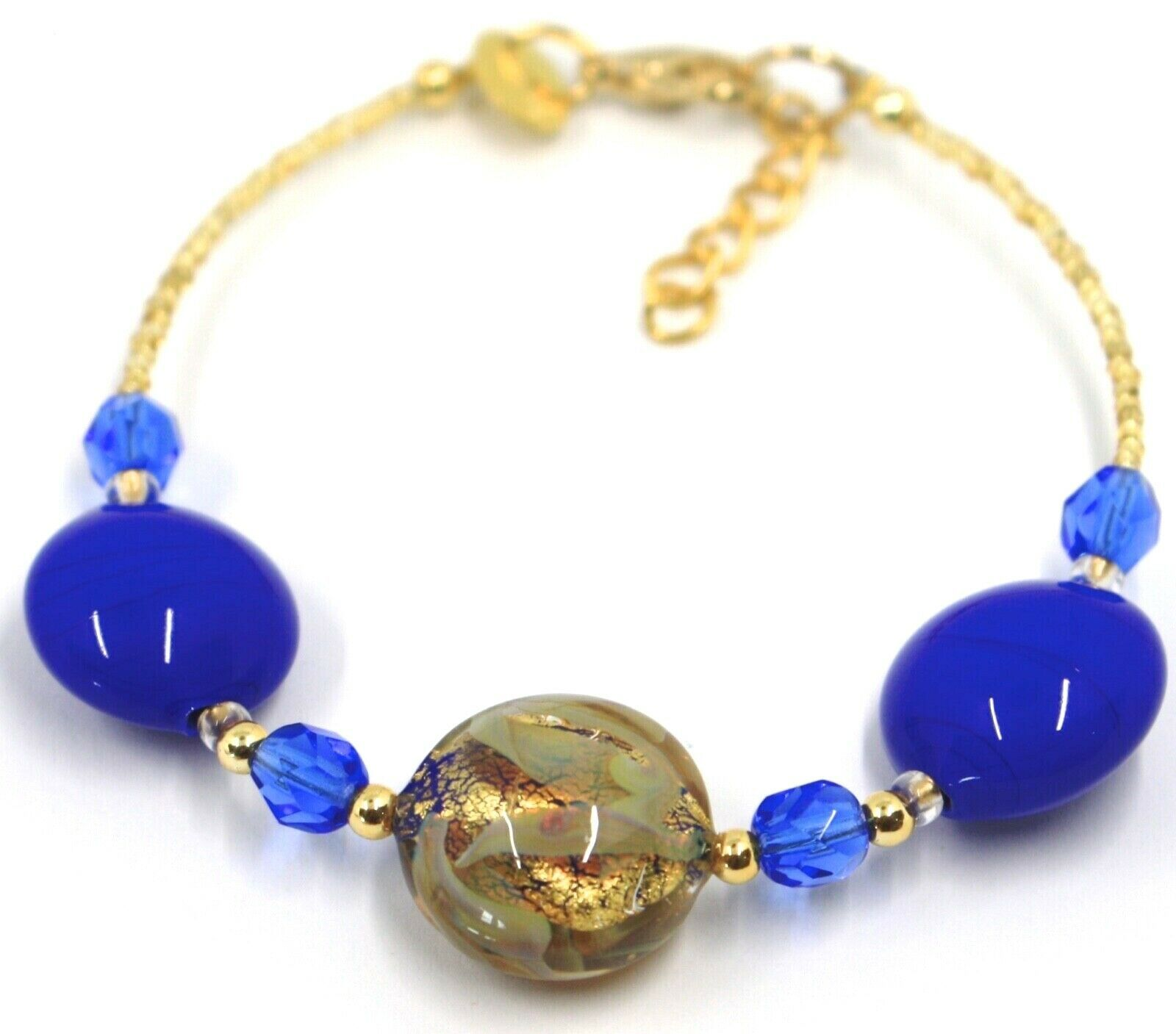 """BRACELET BLUE YELLOW MURANO DISC GLASS & GOLD LEAF, MADE IN ITALY, 19cm, 7.5"""""""