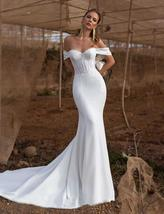 New Soft Style Soft Luxury Satin Mermaid Bridal Gown with Crystal and Pearls image 2