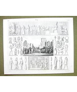 EGYPT Gods Mythology Isis Abraxas Gems Sphinx - 1844 SUPERB Engraving Print - $16.84