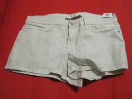 New Abercrombie & Fitch Women Shine Off White High Rise Mini Shorts Sz 10 - $32.66