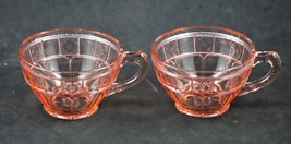 Set of 2, Doric Pattern, Pink, Coffee Cups, made by Jeannette Glass Co.,... - $16.00