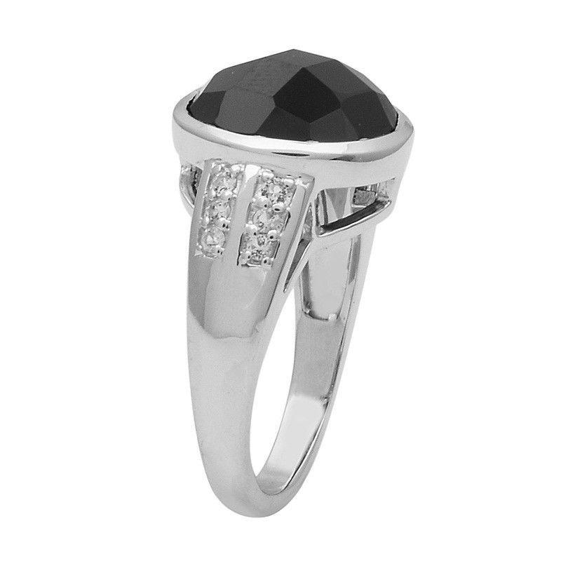 925 Sterling Silver Black Spinel Gemstone Ring Shine Jewelry Size-8.5 SHRI1455