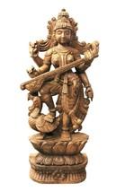 Goddess Saraswati Statue Handmade Carved Wooden Decorative US267WH - $1,368.00
