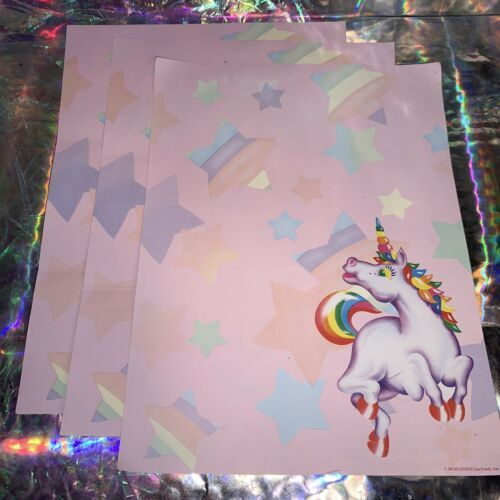 3x Lisa Frank Vintage Markie Unicorn Stationery (B) Sheets Classic HTF