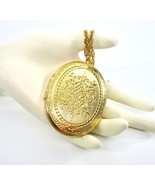 Crown Trifari Locket Necklace, Large, Gold Tone, 1960's, Embossed, Doubl... - $58.00