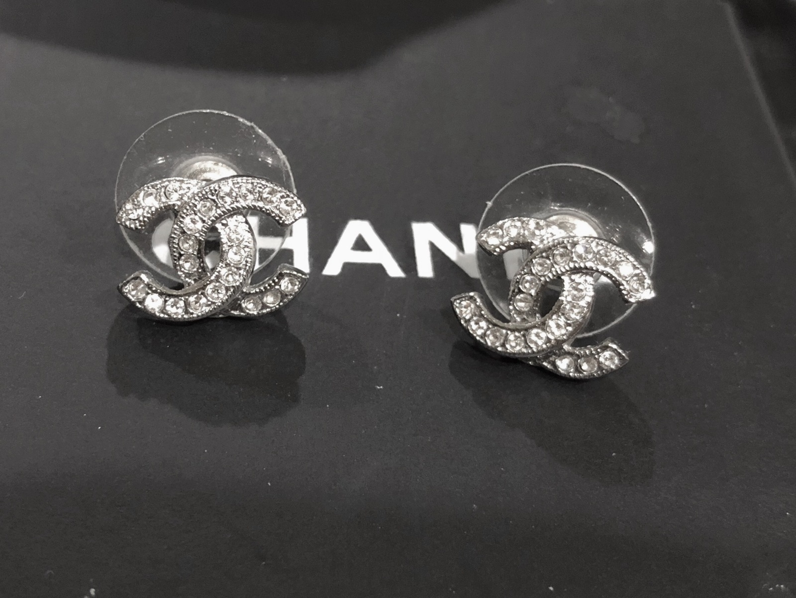 Authentic Chanel Classic CC Logo Crystal Strass Silver Stud Earrings