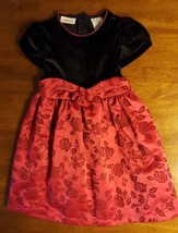 Girls Party Holiday Dress 6 Black Velvet Red Floral Short Sleeve Youngland - $9.85