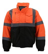 Men's Class 3 Safety High Visibility Water Resistant Reflective Neon Work Jacket image 13