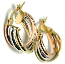 Earrings Circle White Gold, Pink, Yellow 750 18K, Twisted, 3 Tubes, 1.6 CM image 2