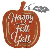 Happy Fall Y'all Rustic Wood Harvest Pumpkin Decoration Wall Hanging Aut... - $12.16