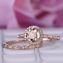 2.20Ct Round Cut Morganite Bridal Set Halo Engagement Ring 14K Rose Gold... - $127.41