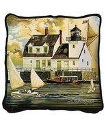 Rockland Breakwater Light Throw Pillow - artist Charles Wysocki - $39.95