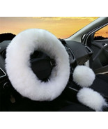 3Pcs Car Steering Wheel Cover Furry Fluffy Universal Fur Wool Thick - $29.69