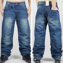 Men's Fashion Hip-hop Solid Color Loose Plus Size Baggy Jeans - $54.06