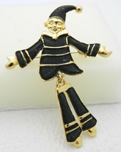 VTG Gold Tone Matte Black Enamel Articulating Clown Pin Brooch - $19.80