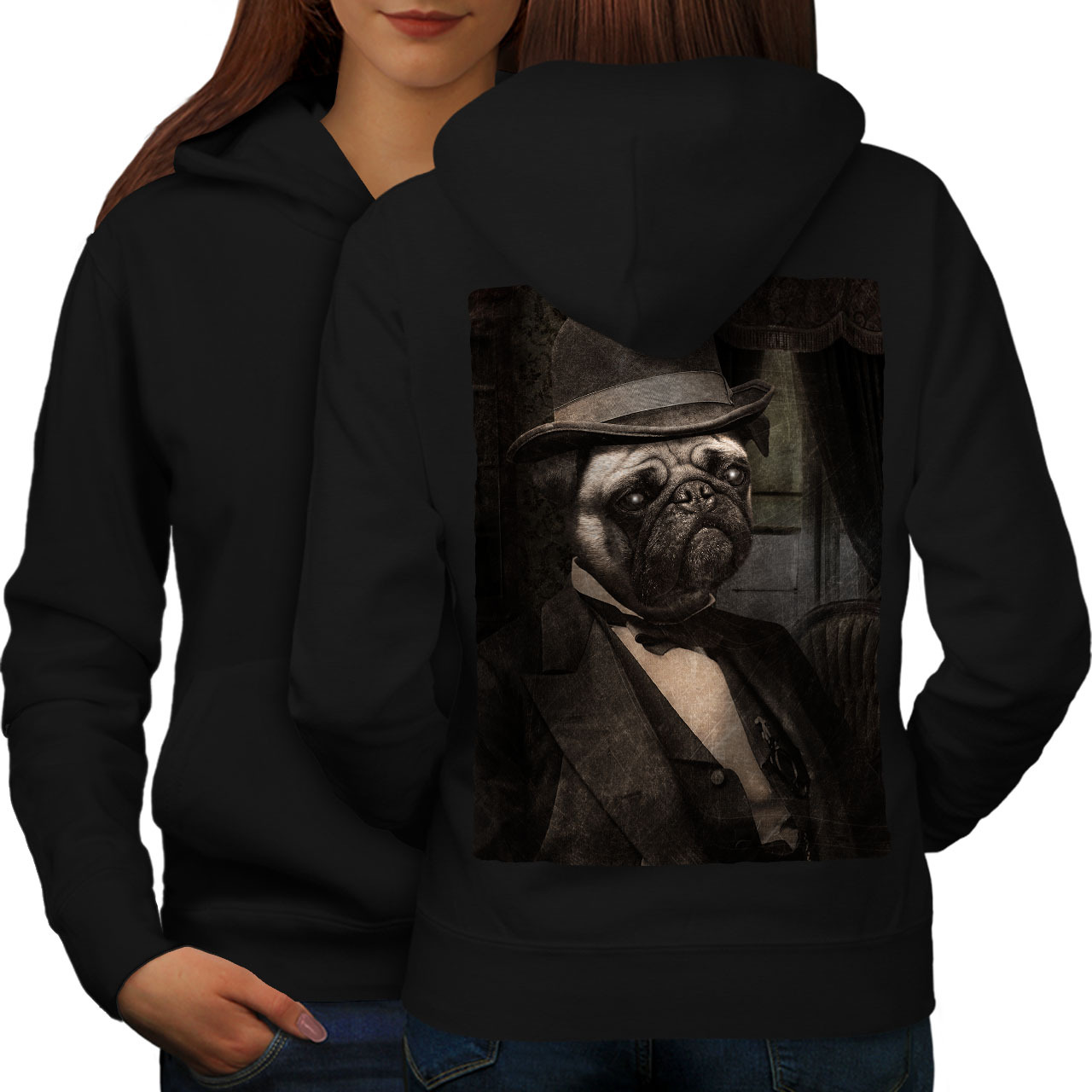 Primary image for Sir Pug Cute Funny Dog Sweatshirt Hoody Puppy Man Women Hoodie Back