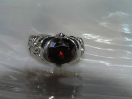 Estate 925 Marked Sterling Silver Faceted Oval Red Paste Stone in Ornate... - $36.35