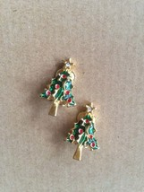 Vintage Gold Tone Green & Red Enamel and Crystal Rhinestone Star Christm... - $13.00