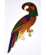 VTG Gold Tone Bright Multi-Color Enamel Cloisonne Parrot Pin Brooch - $19.80