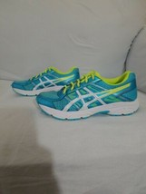 Asics Gel Contend 4 Running Shoes Size 4, Women's Blue, Green, & White C... - $29.49
