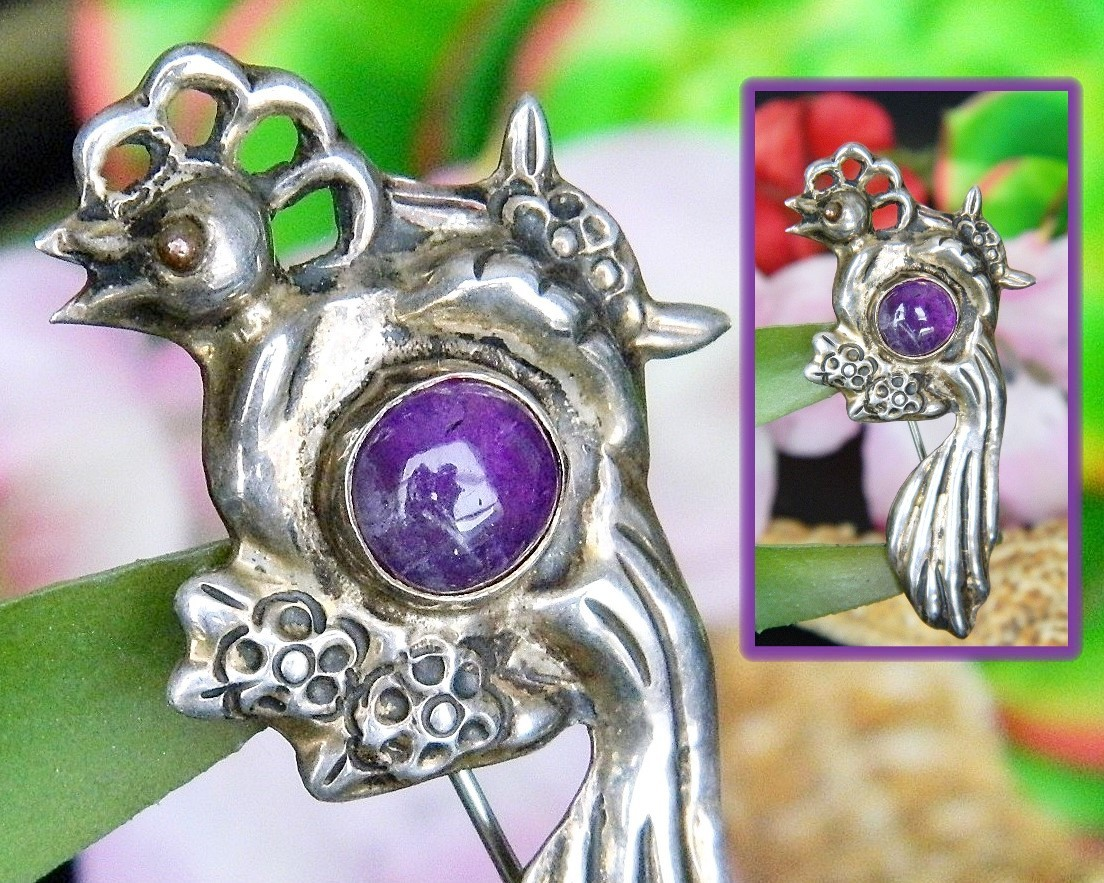 Primary image for Vintage Bird of Paradise Sterling Silver Amethyst Mexico Brooch Pin