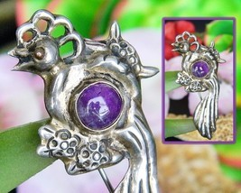 Vintage Bird of Paradise Sterling Silver Amethyst Mexico Brooch Pin - $38.95