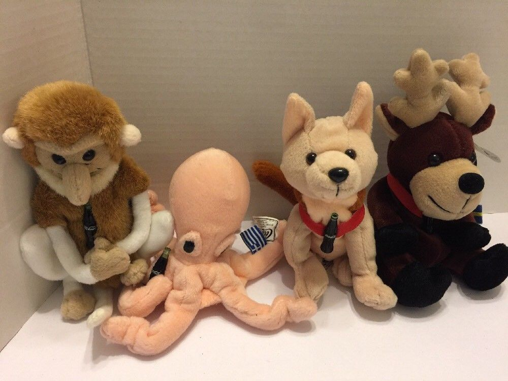 Primary image for Coca Cola Coke Animal Plush Collection Reindeer Wolf Monkey Octopus