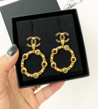 NEW AUTH CHANEL18/19 LARGE Pearl Hoop Earrings Jewel Symbols Crystal CC Gold image 2
