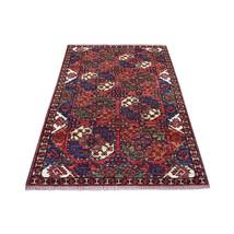 "4'x6'1"" Red Elephant Feet Design Hand Knotted Pure Wool Afghan Ersari Ru... - $968.20"