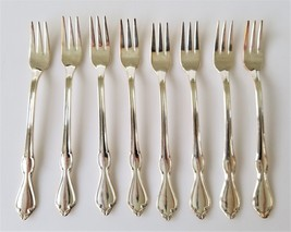 """vintage INTERNATIONAL S. Co XI Flatware Silverplate 8pc COCKTAIL FORKS 6"""" - $38.95"""