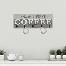 Barnyard Designs 'Ok, But First Coffee' Mug Holder - Rack - Display, Rustic Farm image 3
