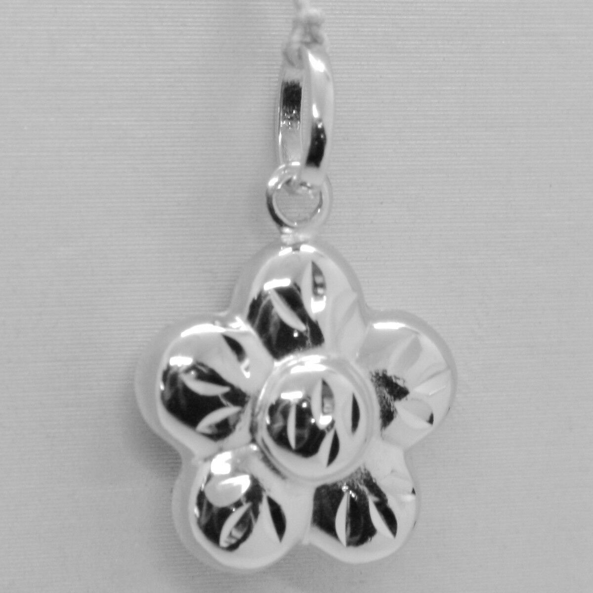 18K WHITE GOLD ROUNDED FLOWER DAISY PENDANT CHARM 22 MM SMOOTH MADE IN ITALY