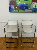 MCM Stam Mart Leather Pub Bar Chairs Chrome Mid Century Modern Bent Tube... - $199.99