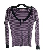 Juicy Couture Pink Striped Henley Long Sleeve Shirt Ruffle Waffle Top Small - $19.80
