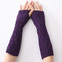 Winter Knitted Half Finger Cuff Gloves Women Winter Long Mittens - $3.99