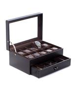 Bey Berk  Watch BOX Glass TOP ORGANIZER PEN cufflink display CASE Black ... - $108.95