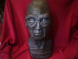 Zombie Mummy Latex Mask Prop Bust Halloween Horror With Eyes,Thick Latex - £34.36 GBP