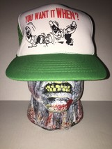 You Want It When Novelty Green White Snapback Mesh Hat Ball Cap Vintage ... - $29.69